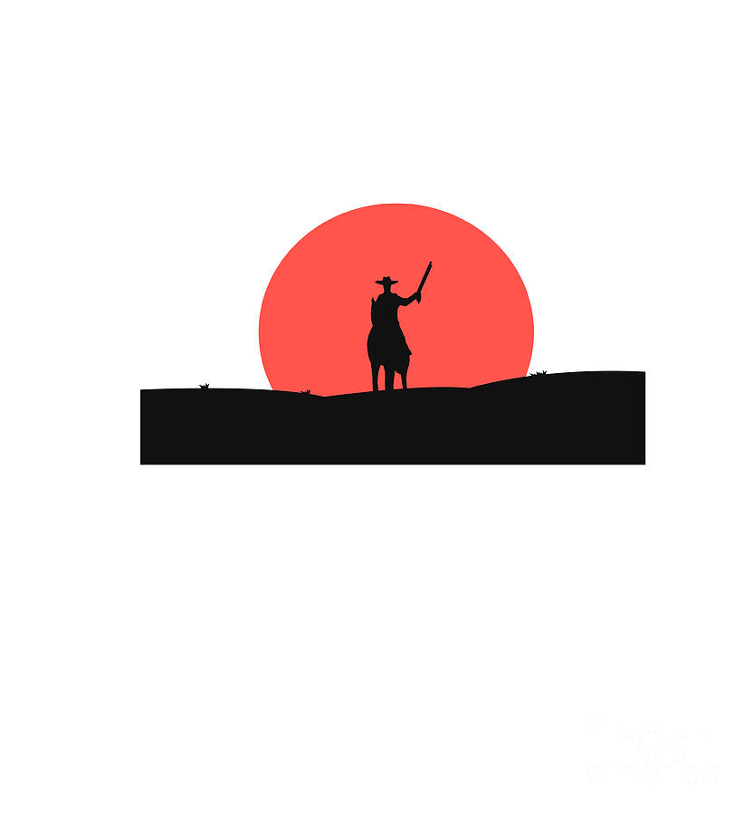 Usa Digital Art - Cowboy With A Gun On A Horse In The by Vlwashington