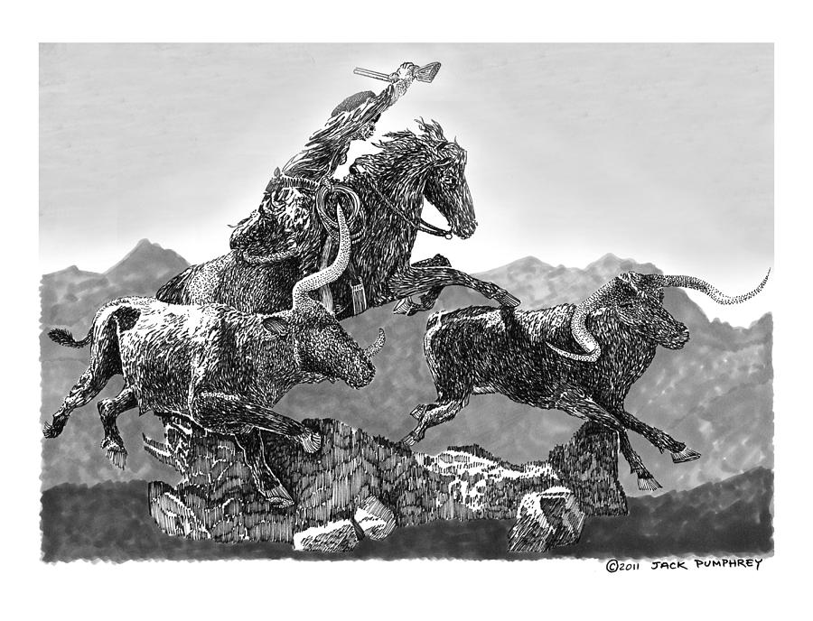 Cows Drawing - Cowboys And Longhorns by Jack Pumphrey