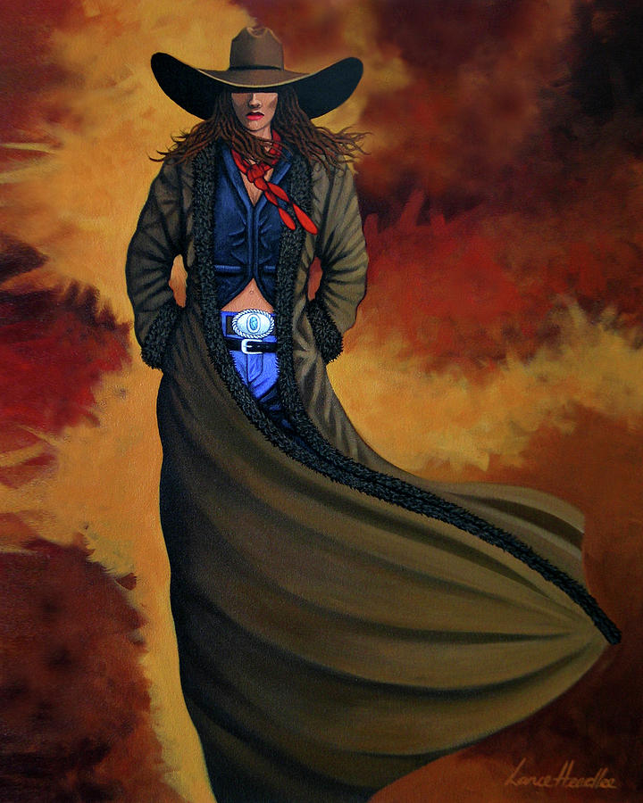 Cowgirl Painting - Cowgirl Dust by Lance Headlee