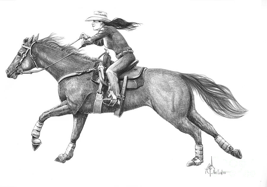 pencil drawing cowgirl full out by murphy elliott
