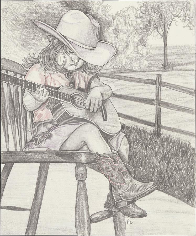 Girl Drawing - Cowgirl Melody by Beverly Marshall