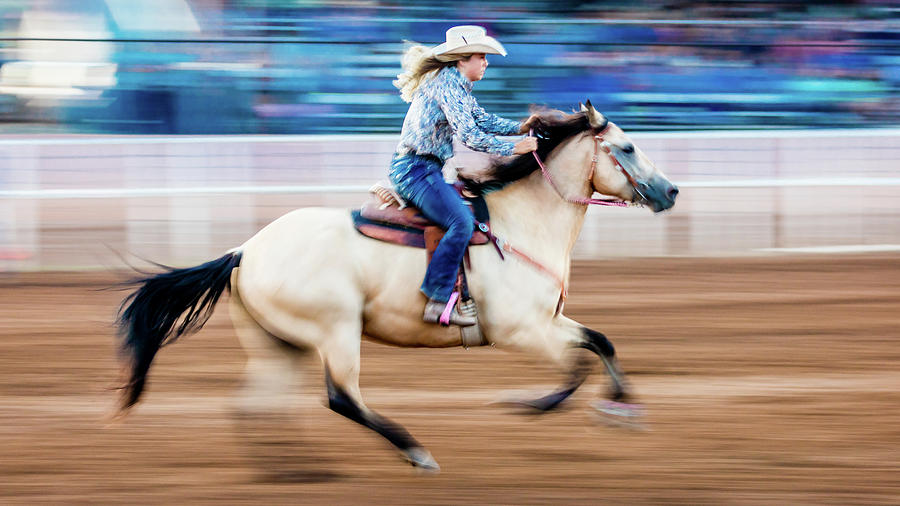 Horizontal Photograph - Cowgirl Rides Fast For Best Time by Panoramic Images