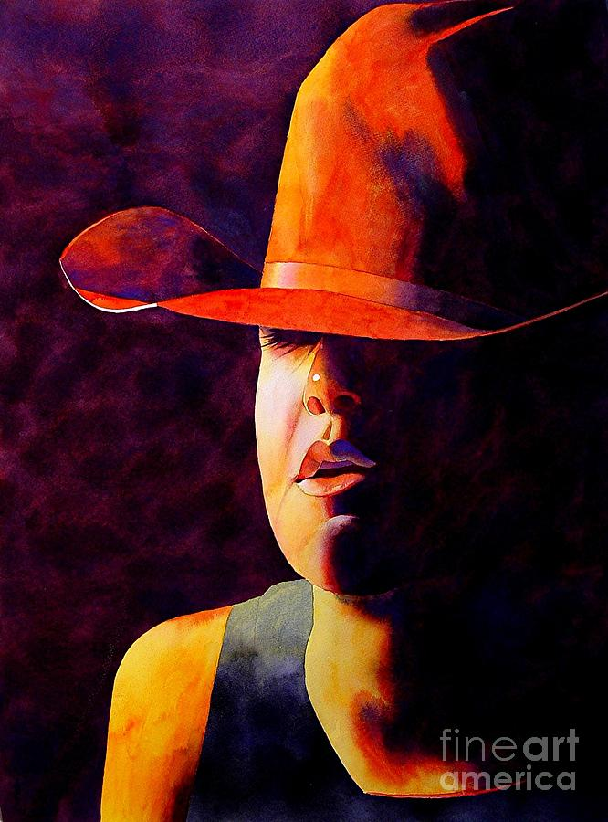 Watercolor Painting - Cowgirl by Robert Hooper