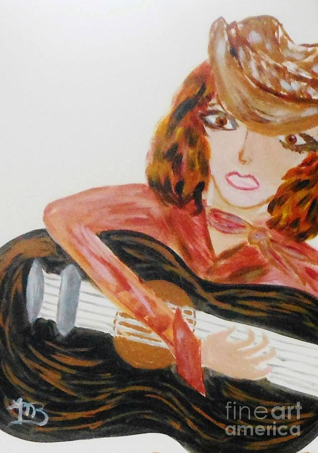 Girl Painting - Cowgirl Singer by Marie Bulger