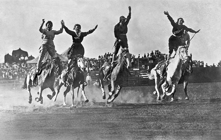 1920's Photograph - Cowgirls At The Rodeo by Underwood Archives