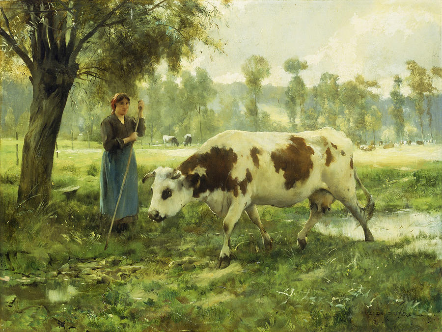 Cows; Cow; Cattle; Pasture; Pastoral; Cowherd; Female; Woman; Farmer; Farming; Labor; Laborer; Remote; Rural; Landscape; Agriculture; Agricultural; Livestock; Countryside; Farm; Animal; Animals; Green; Lush; Field; Fields; French; Provincial; Labor; Shade; Shadow; Tree Painting - Cows At Pasture  by Julien Dupre