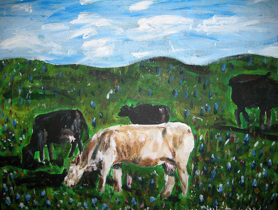 Cows Painting - Cows Grazing in the Spring by Whitney Wiedner