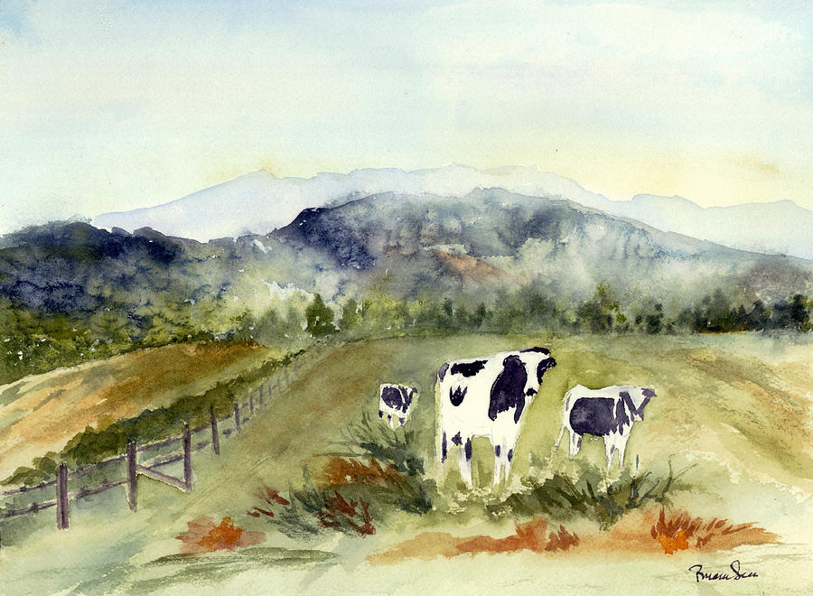 Cows Painting - Cows In Vermont  by Peggy Maunsell