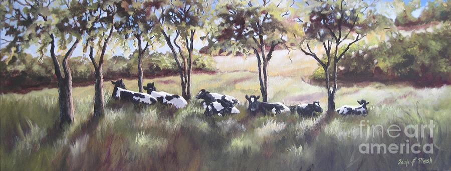 Holstein Cows Painting - Cows Pasture by Paula Marsh