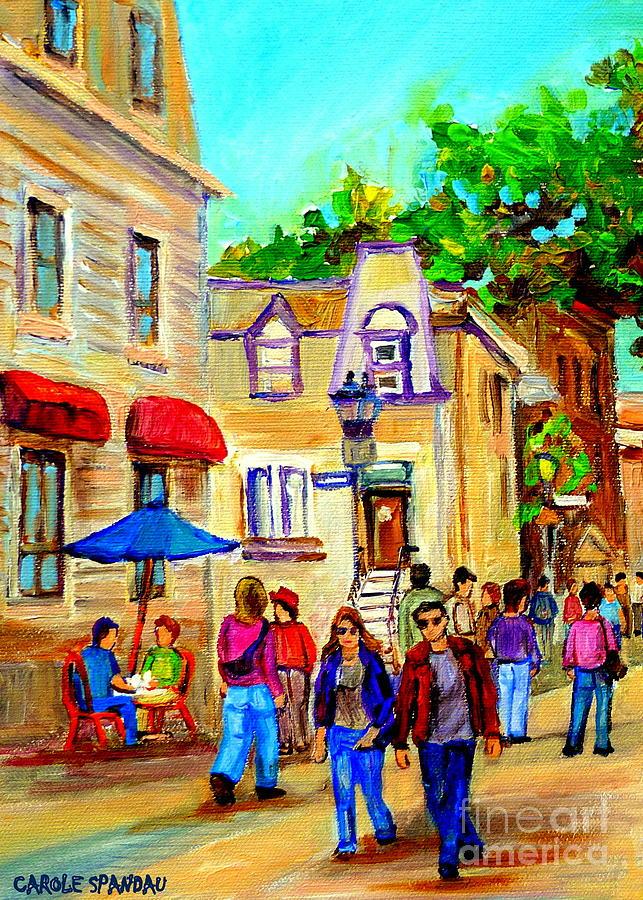 Street Scenes Painting - Cozy Dinner Under Blue Umbrella Summer Stroll Prince Arthur Montreal Paintings Carole Spandau by Carole Spandau