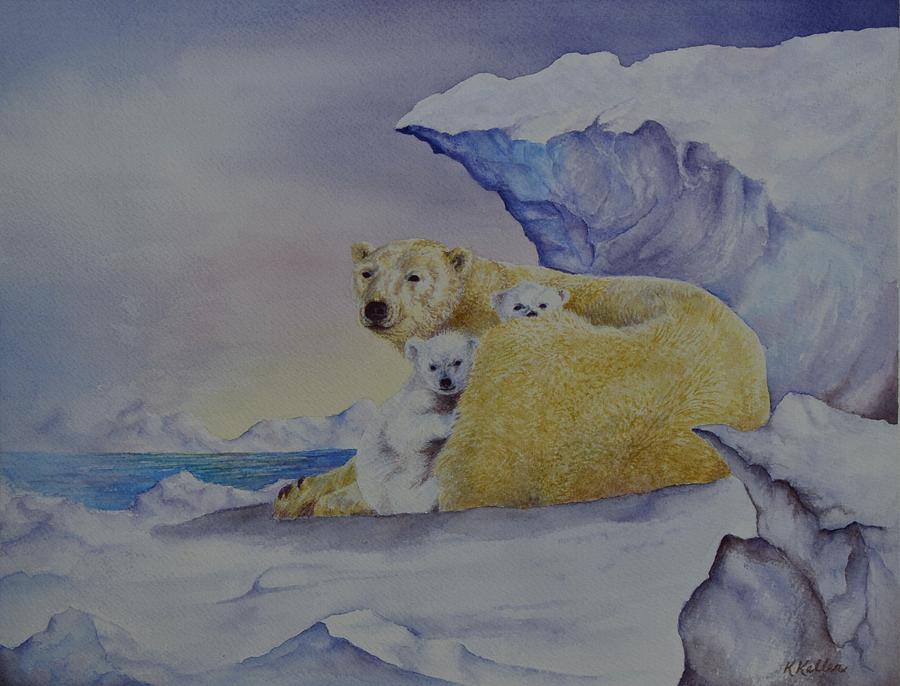 Polar Bears Painting - Cozy Warm by Kathleen Keller