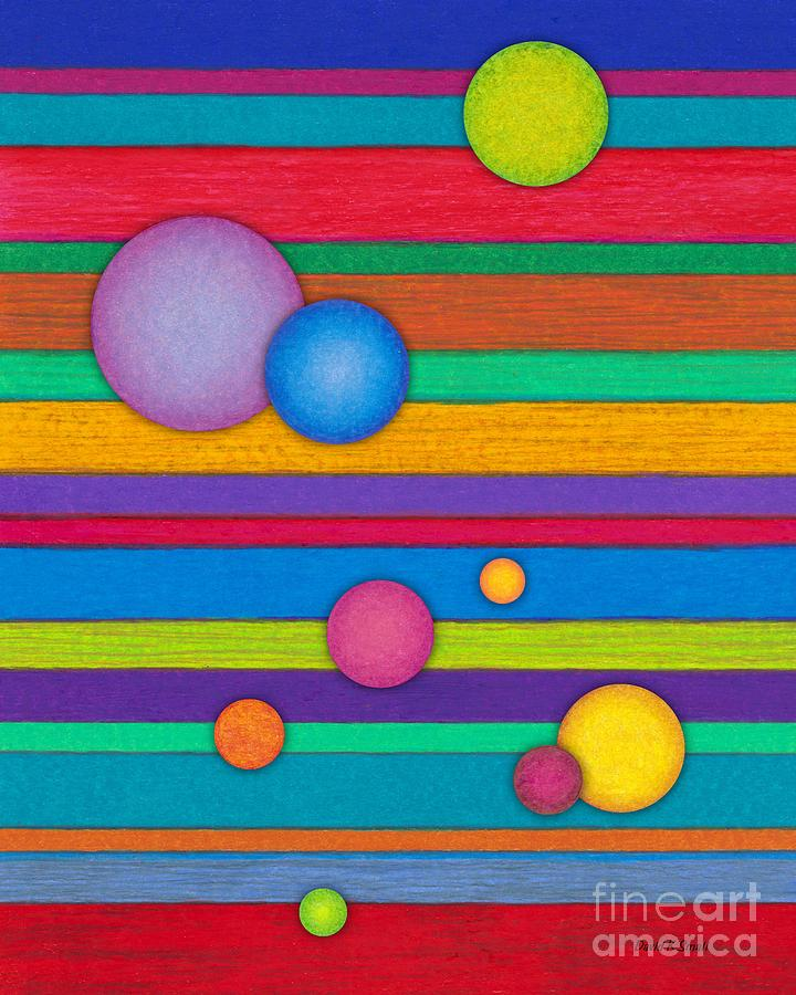 Colored Pencil Painting - Cp003 Stripes And Circles by David K Small