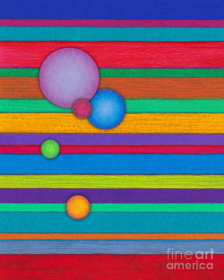 Colored Pencil Painting - Cp003 Stripes With Circles by David K Small
