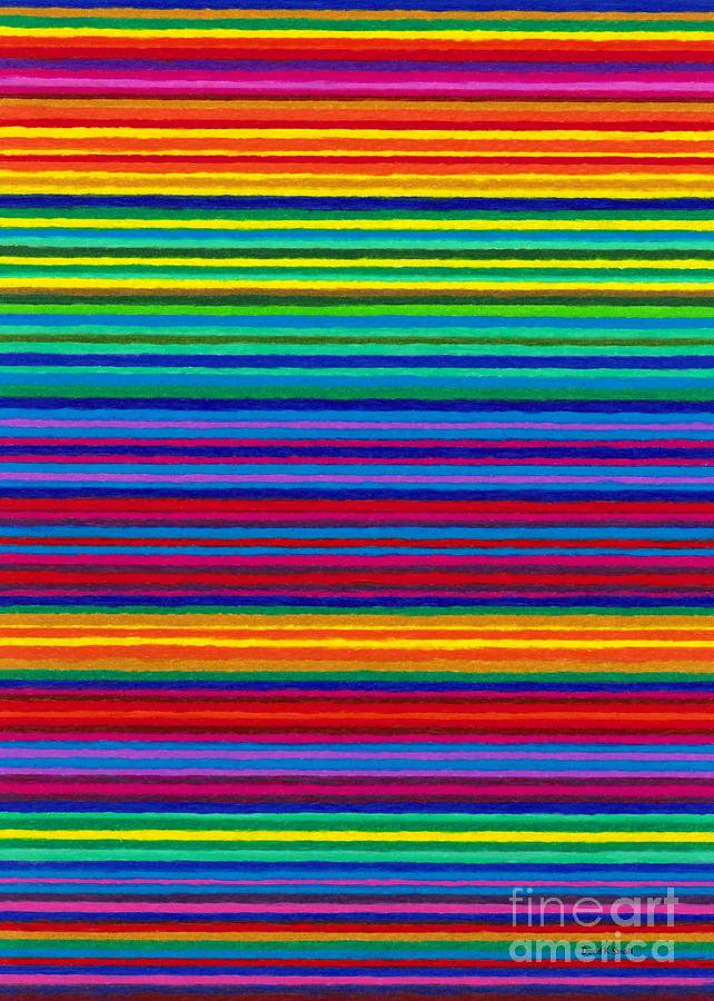 Colored Pencil Painting - Cp038 Tapestry Stripes by David K Small
