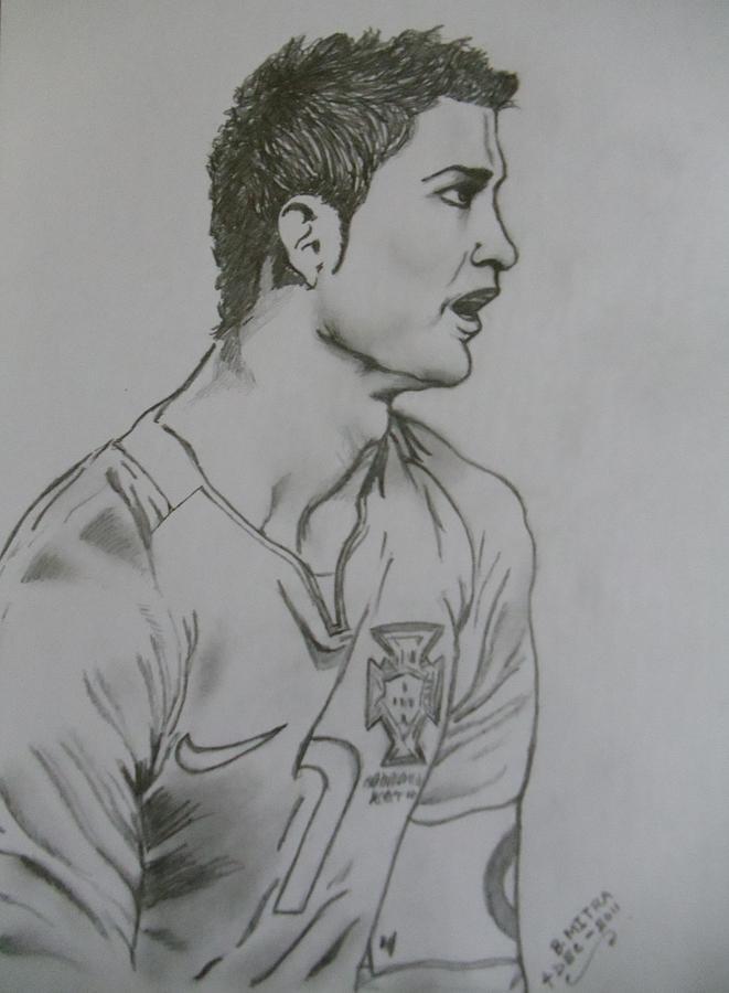 Cr7 Drawing By Bodhisatwa Mitra