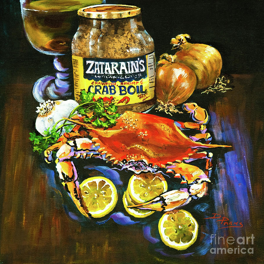 Crab Painting - Crab Fixins by Dianne Parks