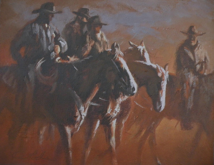 Western Painting - Crack Of Dawn by Mia DeLode