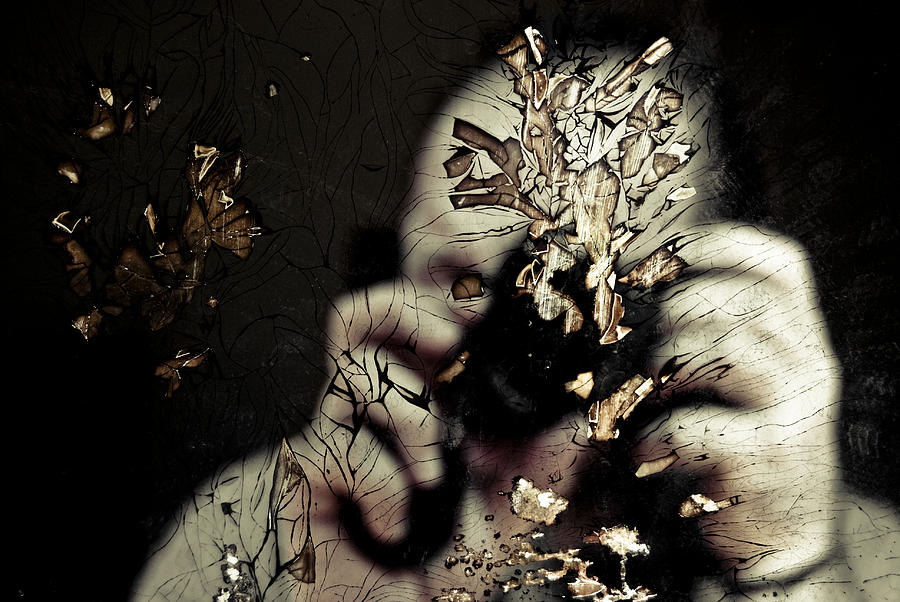 Self Portrait Photograph - Cracked Portrait 01 by Grebo Gray