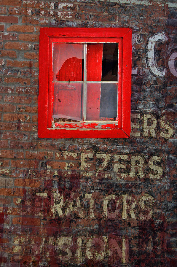 Window Photograph - Cracked Red by Emily Stauring
