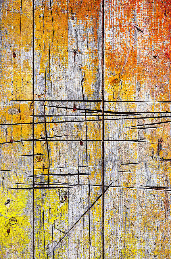 Abstract Photograph - Cracked Wood Background by Carlos Caetano