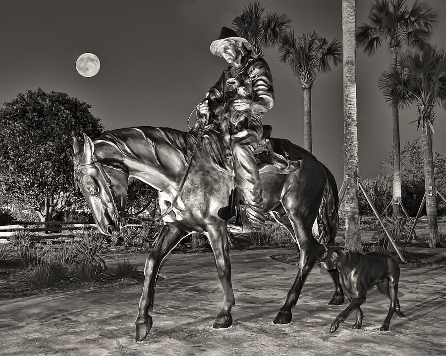 Statues Photograph - Cracker Cowboy And Full Moon by Betty Eich