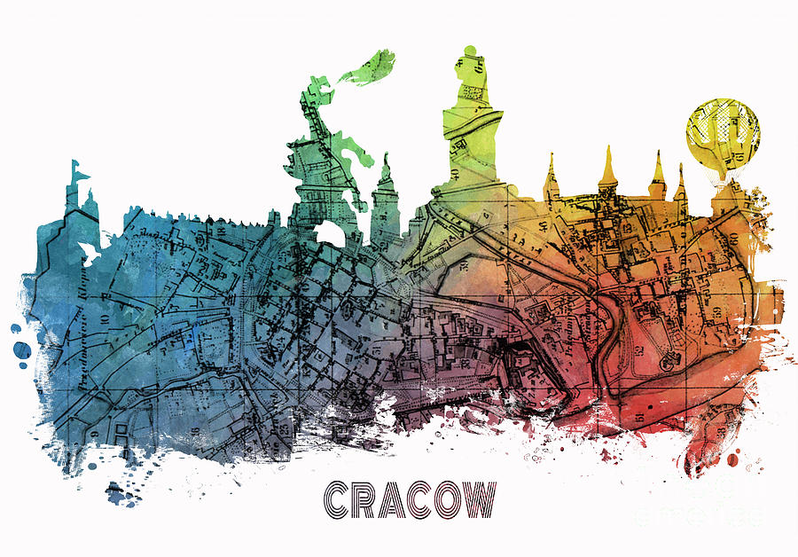 Cracow Digital Art - Cracow City Skyline Map by Justyna JBJart