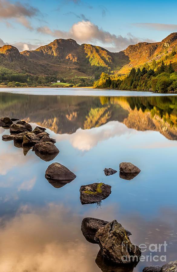 Waterscape Photograph - Crafnant Rocks by Adrian Evans
