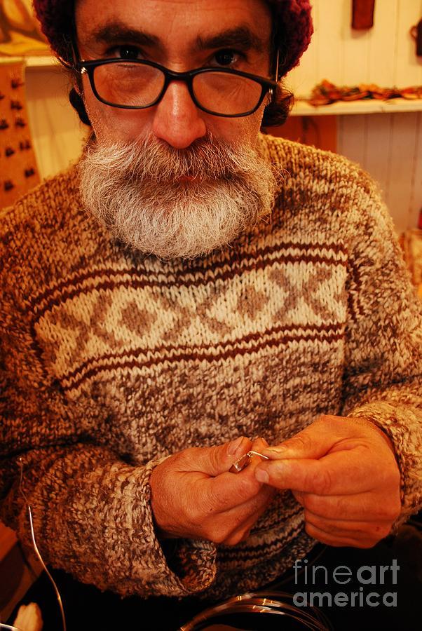 White Beard Photograph - Crafty Santa by Susan Hernandez