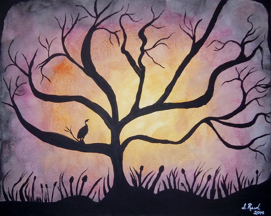Sunset Painting - Crane At Sunset by Susan Reed