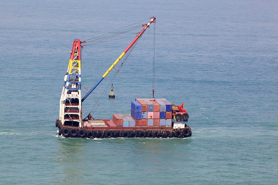 Coast Photograph - Crane Barge With Cargo by Science Photo Library
