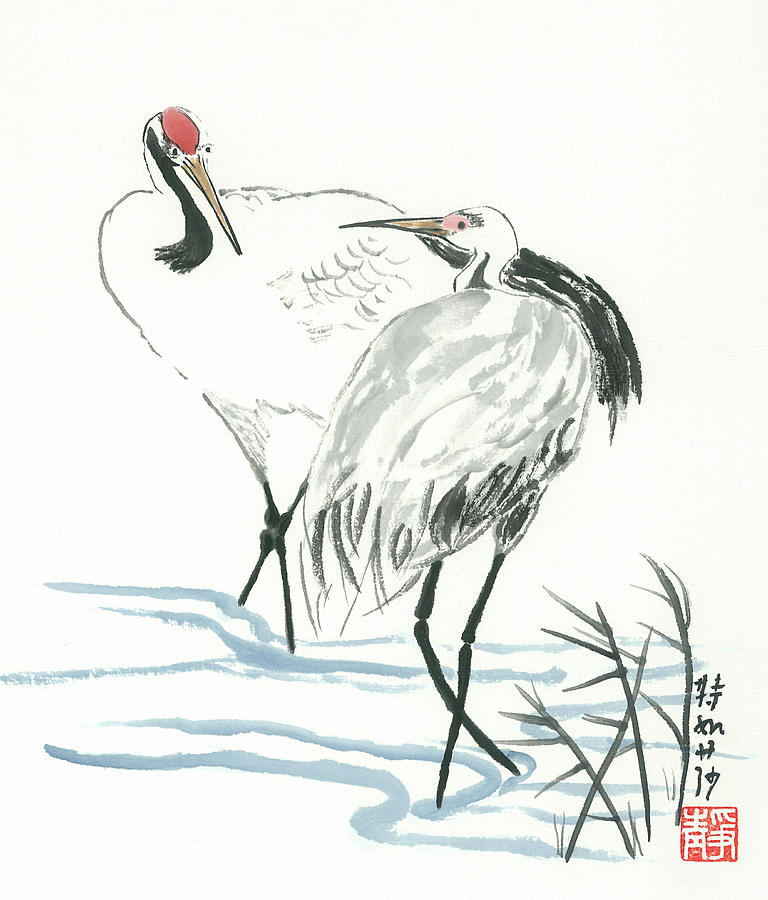 Crane Painting - Crane Couple by Terri Harris