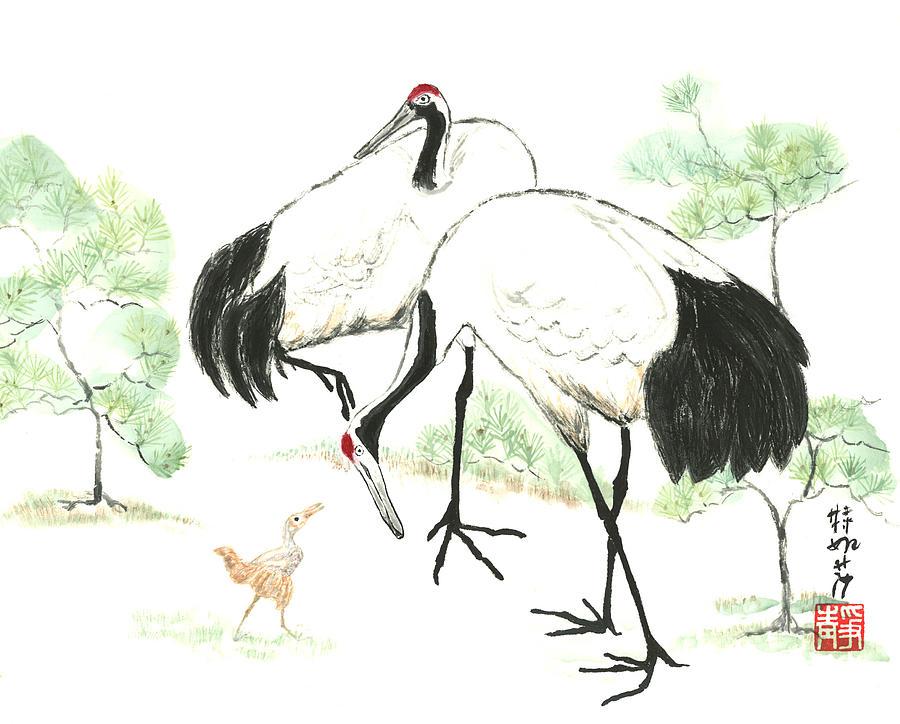 Crane Painting - Crane Family by Terri Harris