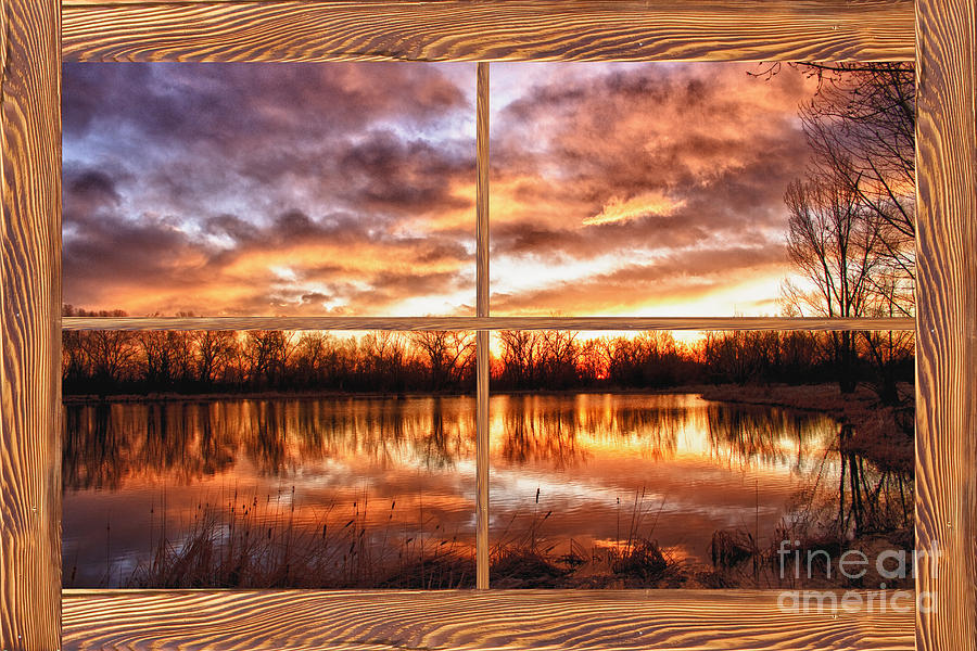 Windows Photograph - Crane Hollow Sunrise Barn Wood Picture Window Frame View by James BO  Insogna