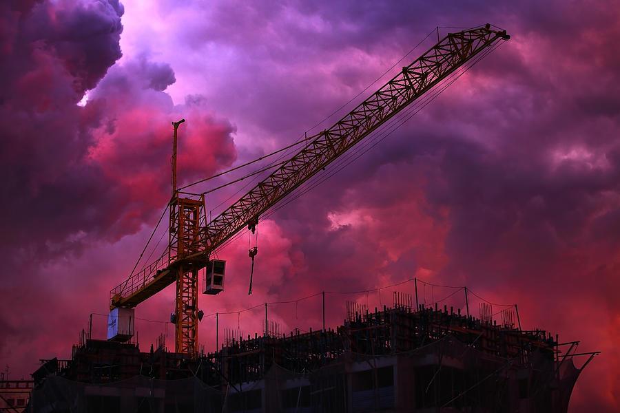 Sky Photograph - Crane I by Felipe Djanikian