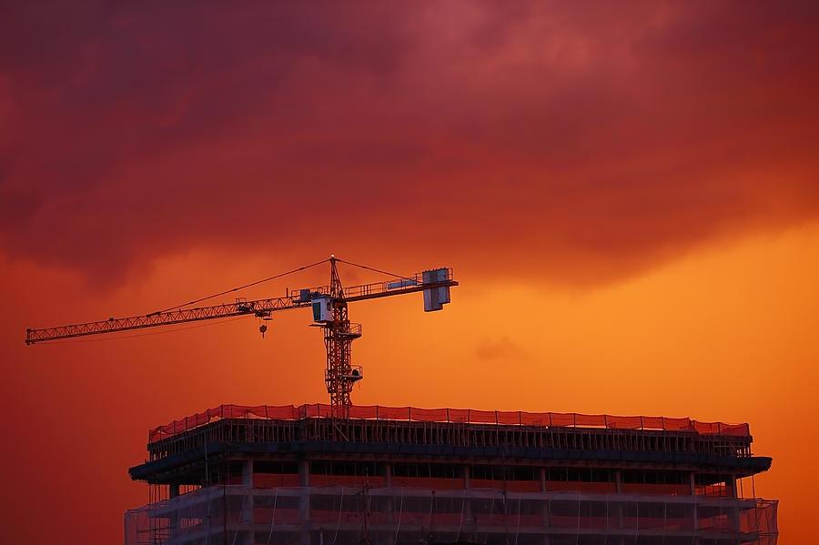Sky Photograph - Crane II by Felipe Djanikian