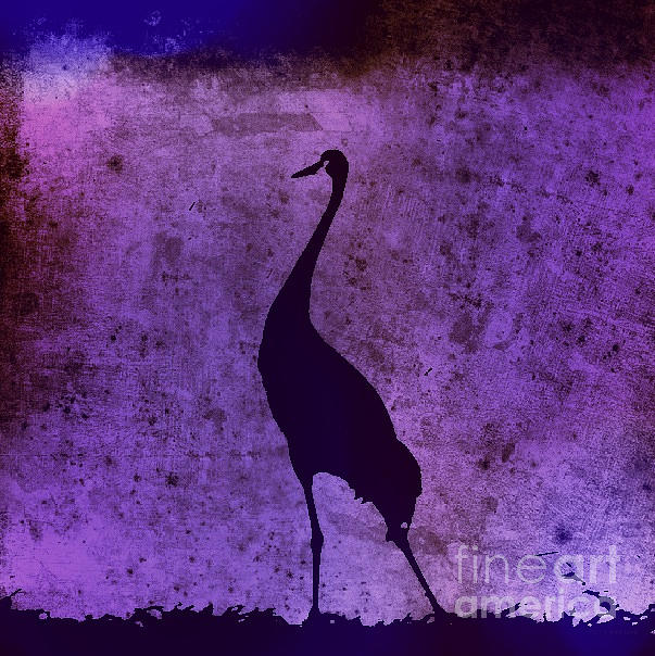 Black Photograph - Crane In Vintage Plum by Anita Lewis