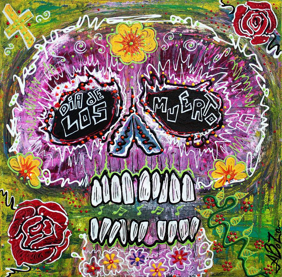 Pink Painting - Craneo Rosado De Los Muertos by Laura Barbosa