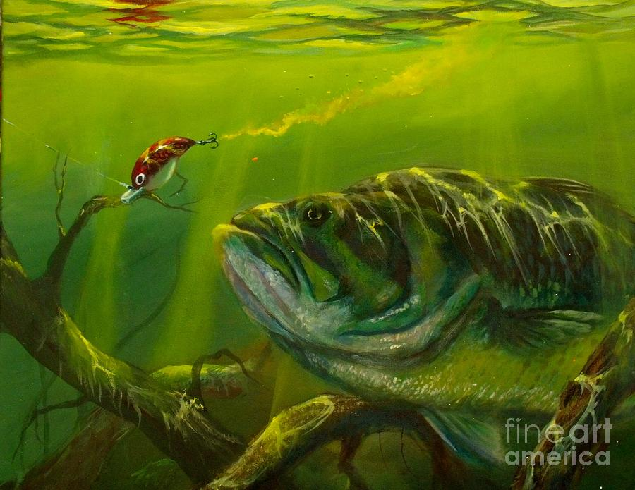 Cranking painting by yusniel santos for Bass fish painting