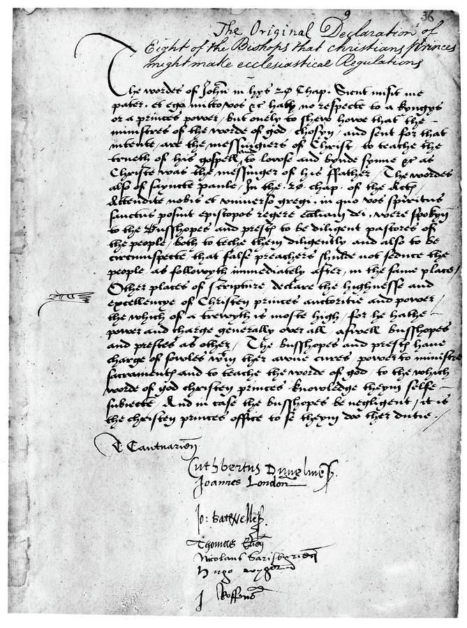 Autograph Painting - Cranmer Declaration, 1537 by Granger