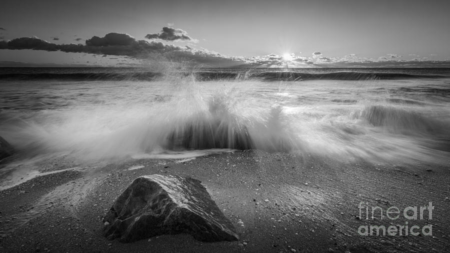 Mv Photograph - Crashing Waves Bw by Michael Ver Sprill