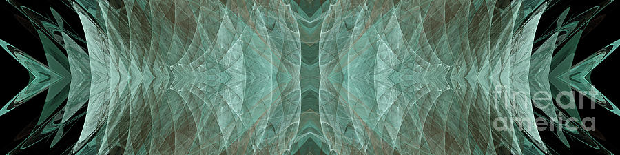 Abstract Digital Art - Crashing Waves Of Green 1 - Panorama - Abstract - Fractal Art by Andee Design
