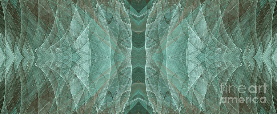 Abstract Digital Art - Crashing Waves Of Green 2 - Panorama - Abstract - Fractal Art by Andee Design