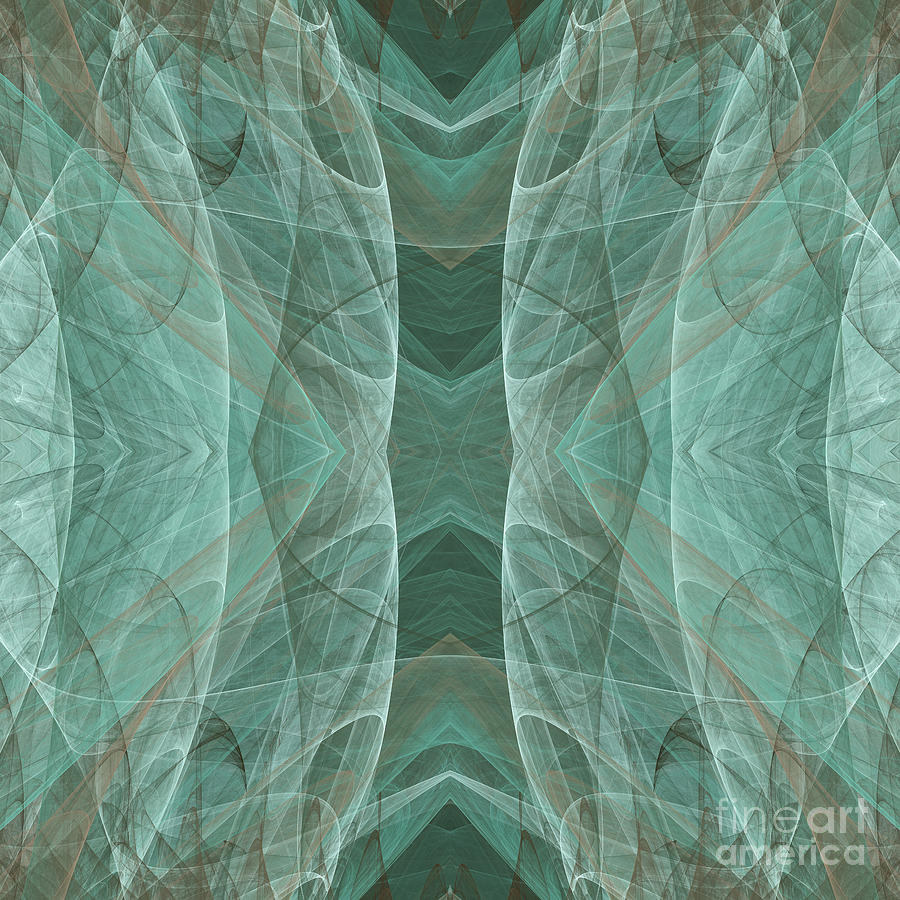 Abstract Digital Art - Crashing Waves Of Green 4 - Square - Abstract - Fractal Art by Andee Design