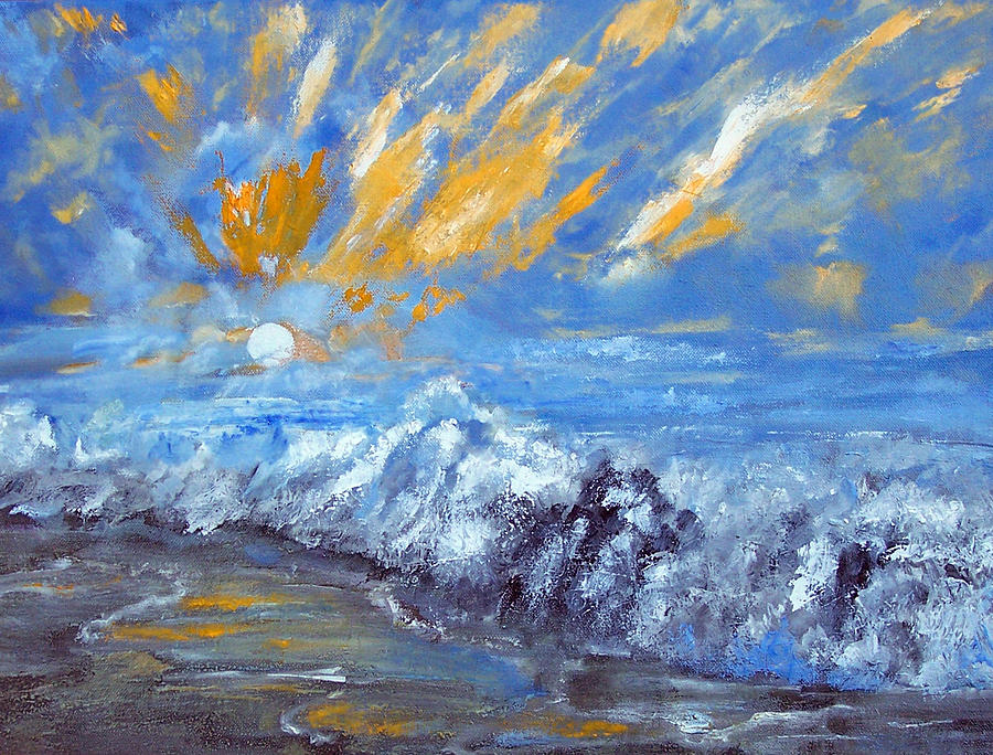 Seashore Painting - Crashing Waves by Robert Gross