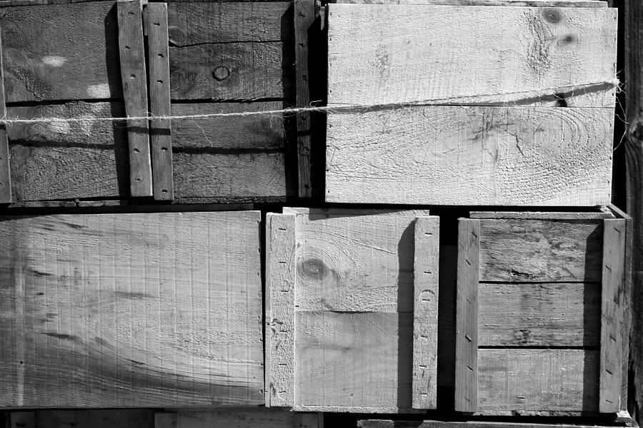 Crate Photograph - Crates At The Orchard 2 Bw by Mary Bedy
