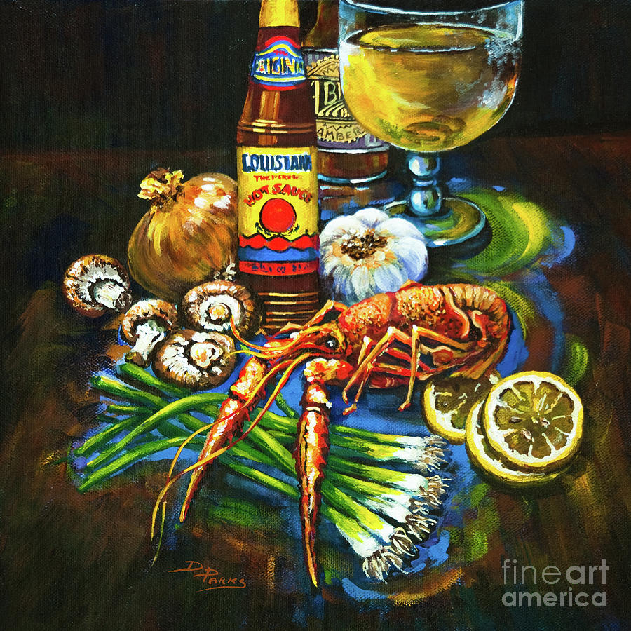Crawfish Painting - Crawfish Fixins by Dianne Parks