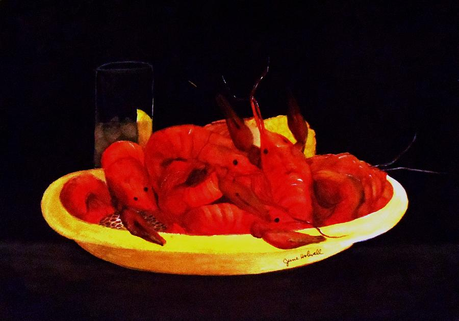 Crawfish Painting - Crawfish Small Portion by June Holwell