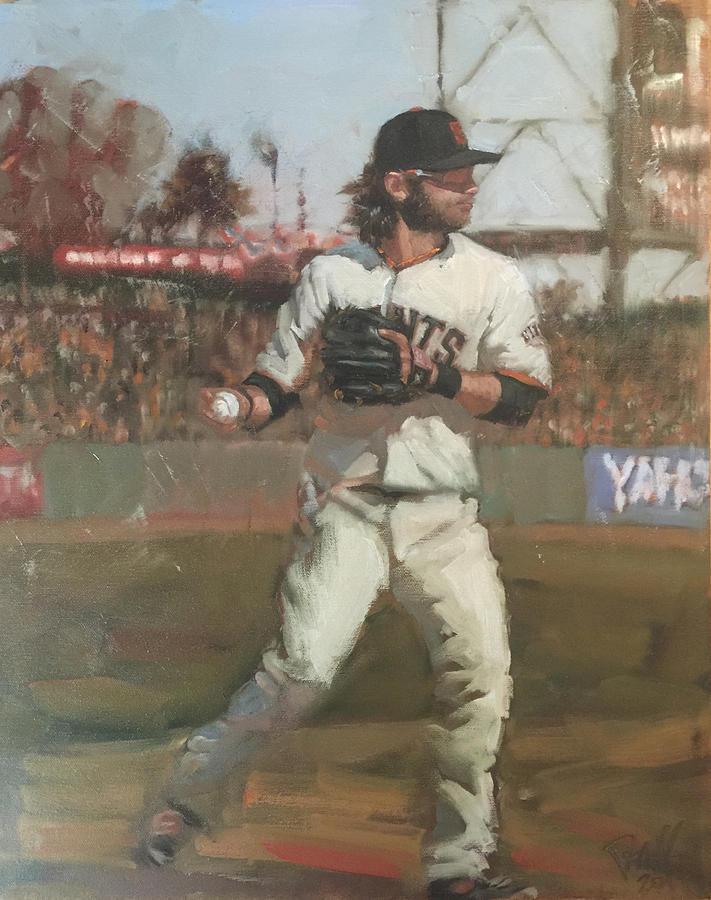 Brandon Crawford Painting - Crawford Day Game by Darren Kerr