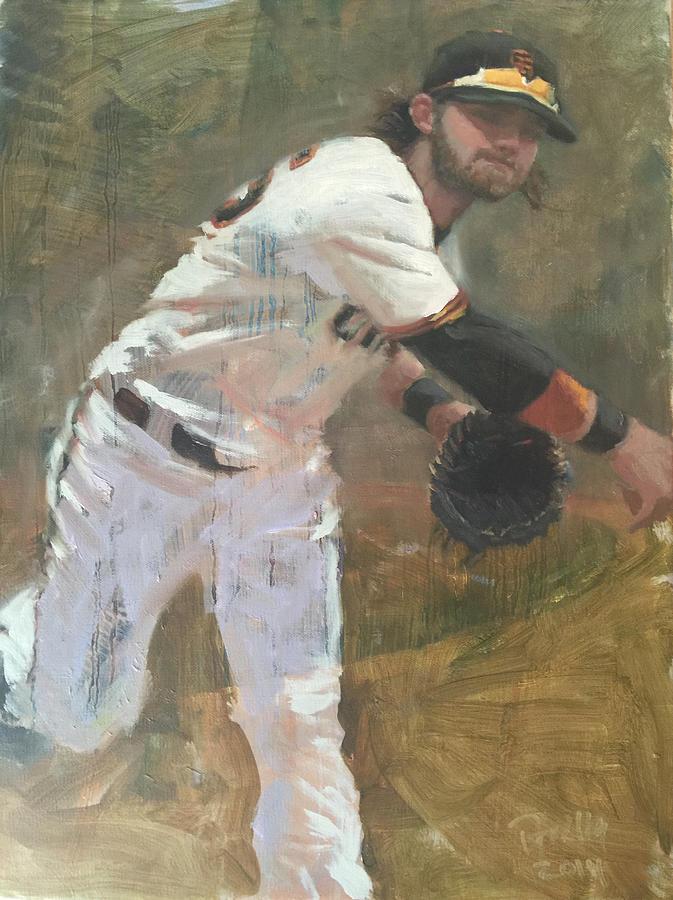 Brandon Crawford Painting - Crawford Throw to First by Darren Kerr