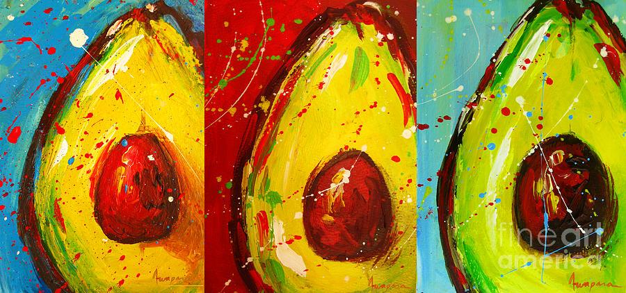 Crazy Avocados triptych  by Patricia Awapara
